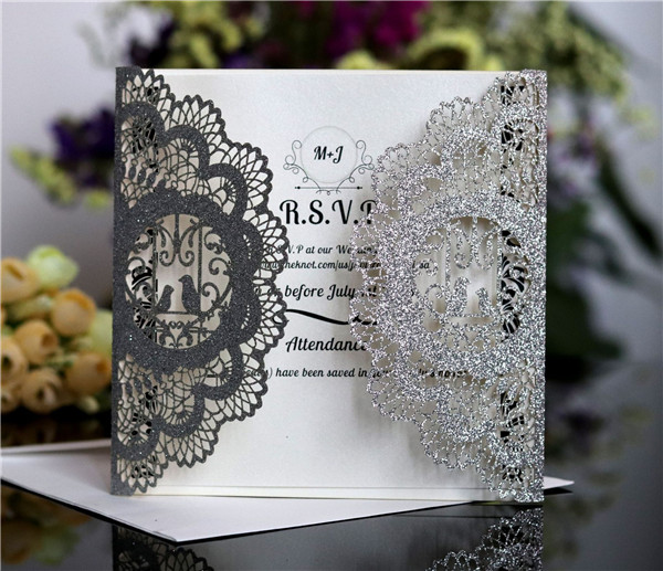 Affordable Glitter laser cut wedding invitations LC063