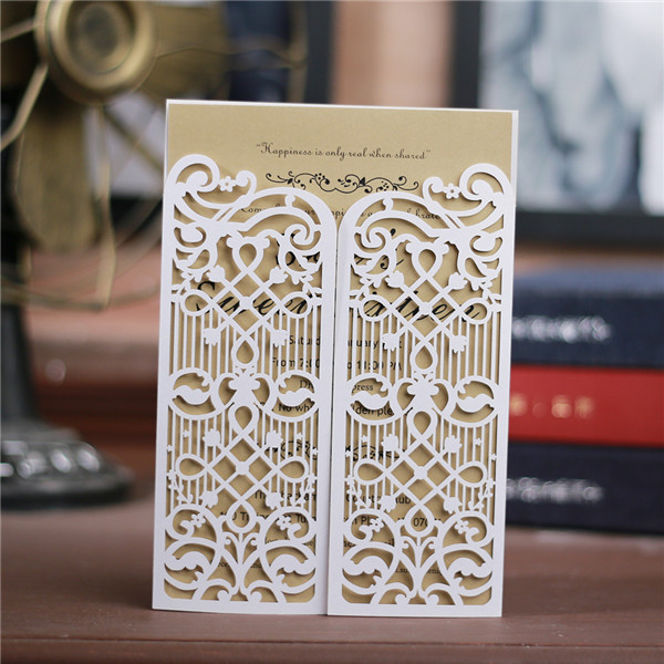 affordable and vintage laser cut wedding invitations with gate