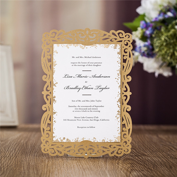 Brown laser cut wedding invitations with inserted cards LC032