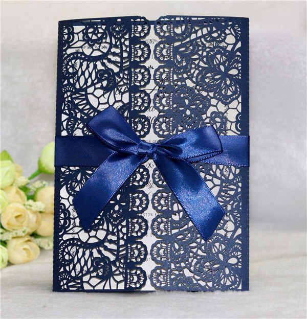 Charming elegant navy blue laser cut wedding invitations with bow ribbons LC054