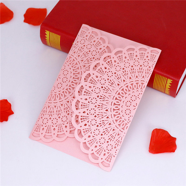 Classic and vintage lace laser cut wedding invitations LC066