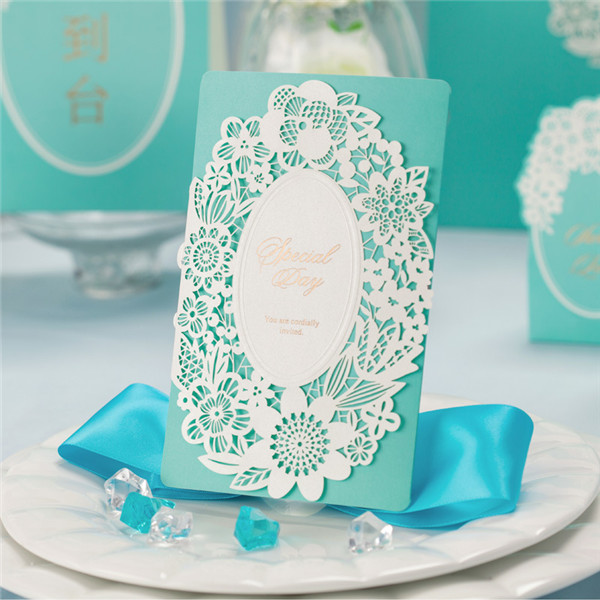 Classic tiffany blue laser cut lace wedding invitations LC016