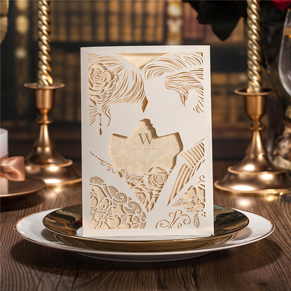 Creative pearl white silhouette laser cut wedding invitations lc013 creative pearl white silhouette laser cut wedding invitations lc013 filmwisefo