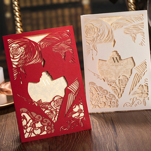 Creative pearl white silhouette laser cut wedding invitations LC013