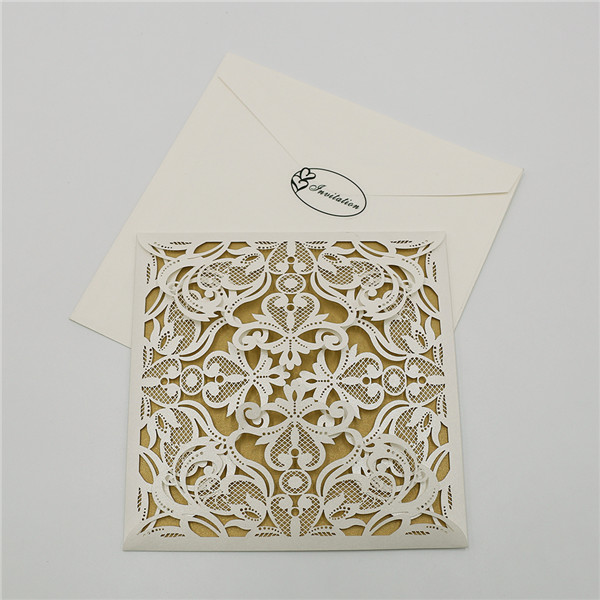 Delicate vintage ivory laser cut wedding invitations  LC047