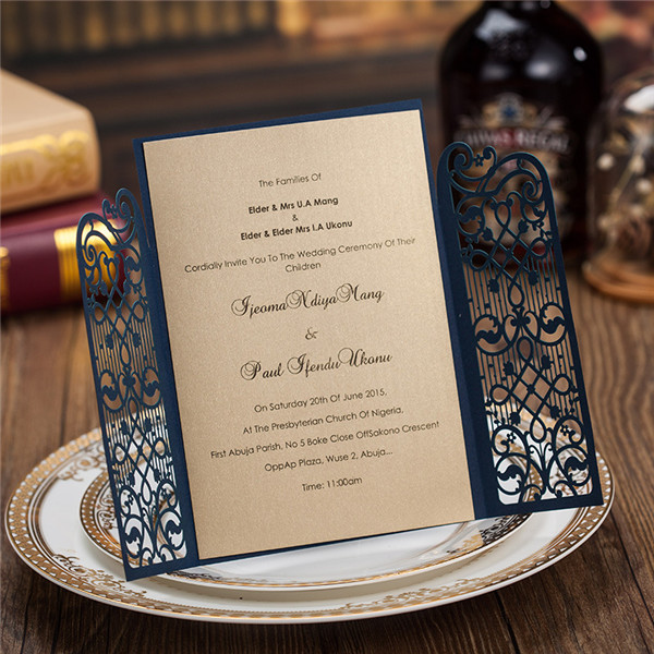 Elegant navy blue laser cut wedding invitations with exquisite engraving LC010
