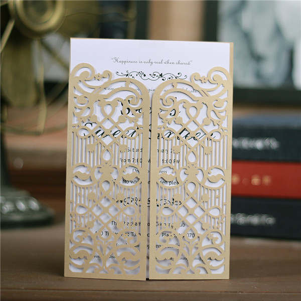 Graceful gold laser cut wedding invitations with gate design LC040