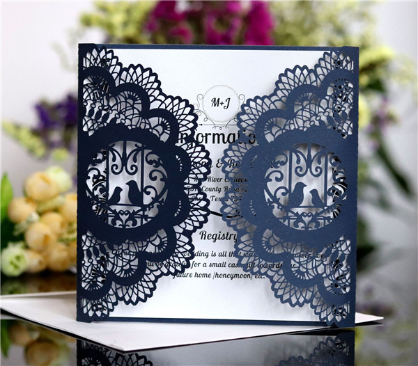 Inexpensive classic Black and white lace laser cut wedding invitations LC061