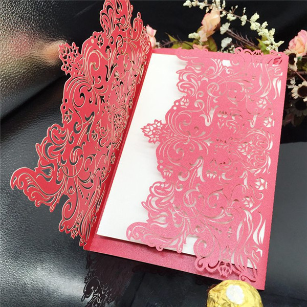 Luxury and graceful laser cut custom-made wedding invitations LC070