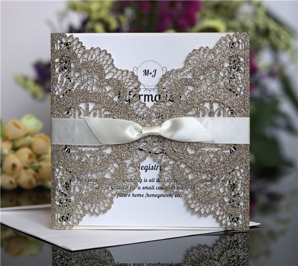 Glitter lace laser cut wedding invitations with satin ribbons LC053