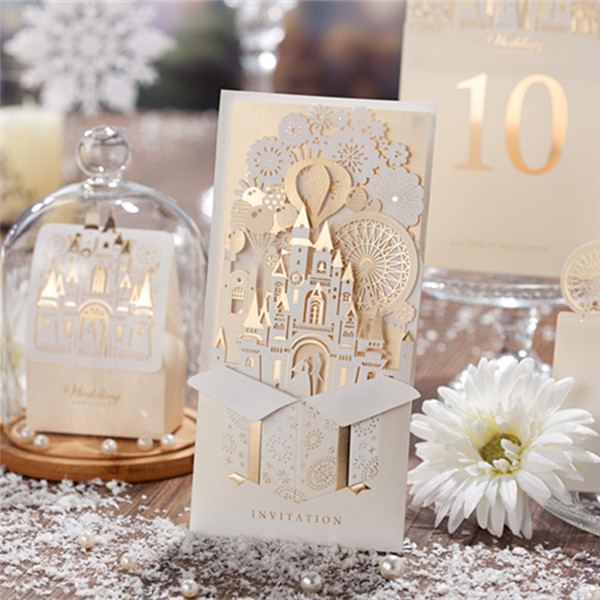 Romantic and foil ivory folded castle wedding invitations LC014 ...