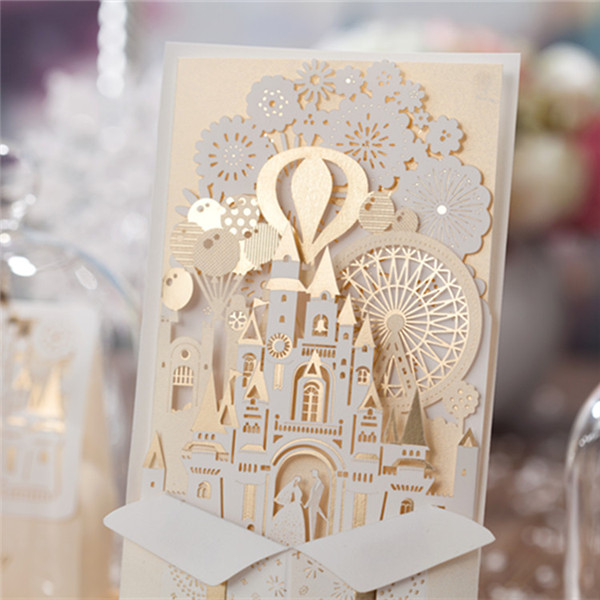 Romantic and foil ivory folded castle wedding invitations LC014