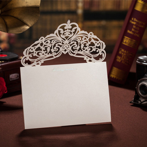 Romantic traditional ivory laser cut wedding invitations LC009