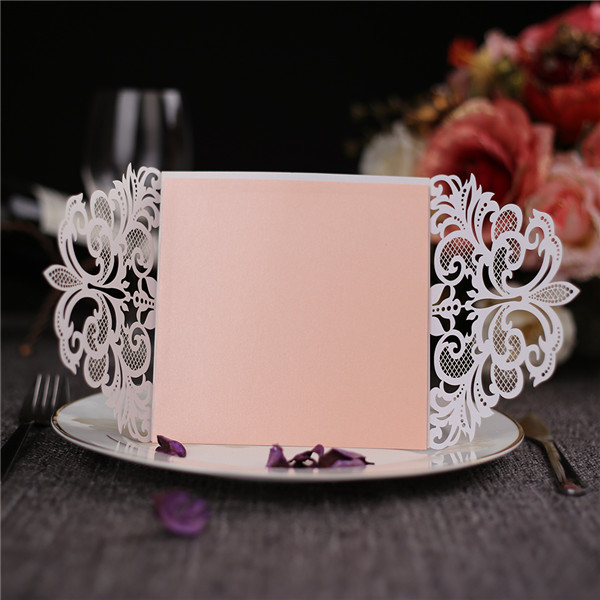 Romantic white folded laser cut wedding invitations with blush pink inner LC043