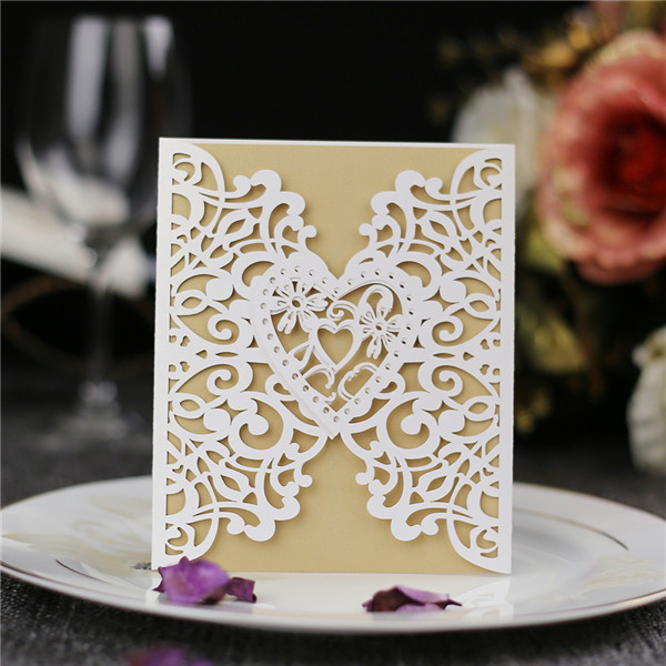 Romantic white heart-shaped laser cut wedding invitations  LC035