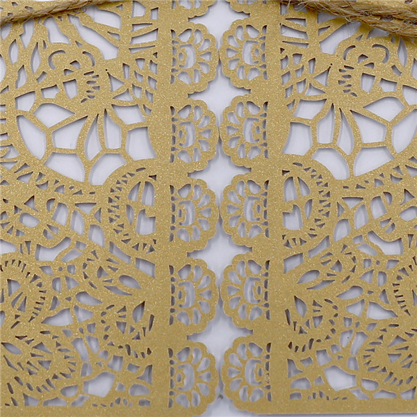 Rustic gold country laser cut wedding invitations with hemp cord LC042