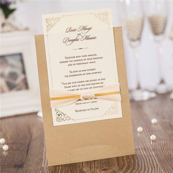 Rustic layered wedding invitations with romantic ribbons LC034