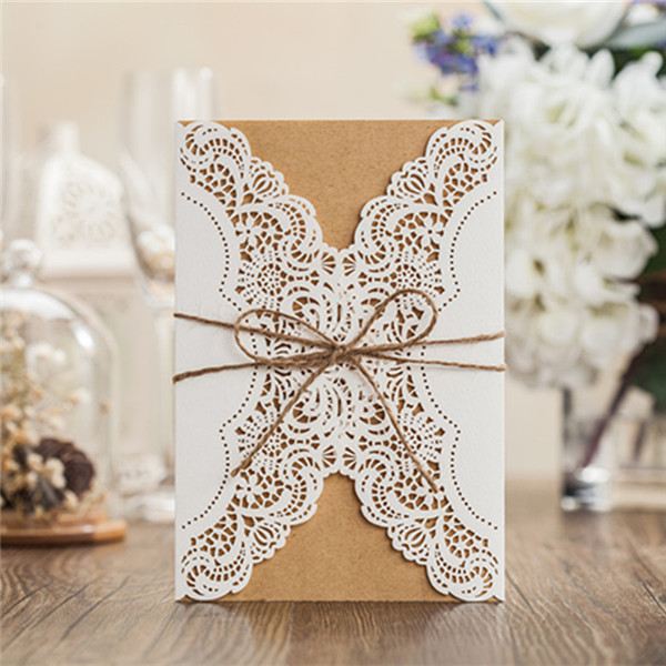 Rustic white lace detailed wedding invitations with suede ribbon LC011