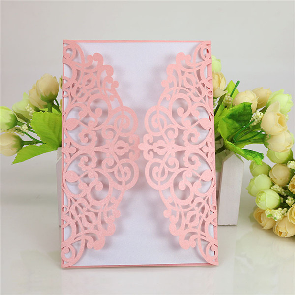 Shabby chic customized laser cut wedding invitations LC068