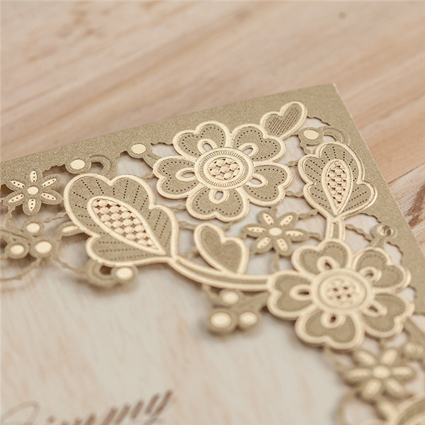 Shiny vintage brown laser cut wedding invitations LC020