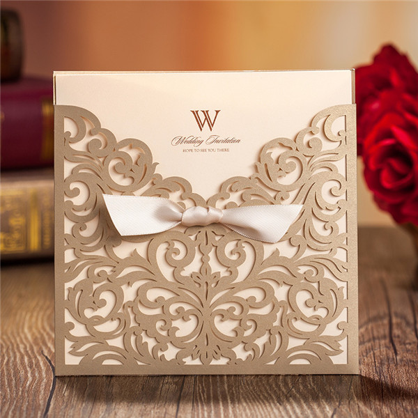 Cheap Wedding Invites.Traditional Gold Laser Cut Wedding Invitations With Amazing Details Lc003