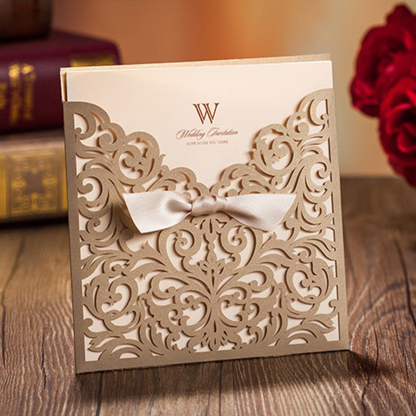 Traditional gold laser cut wedding invitations with amazing details LC003