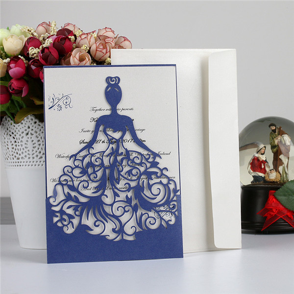 Unique laser cut wedding invitations with bride's portrait LC069
