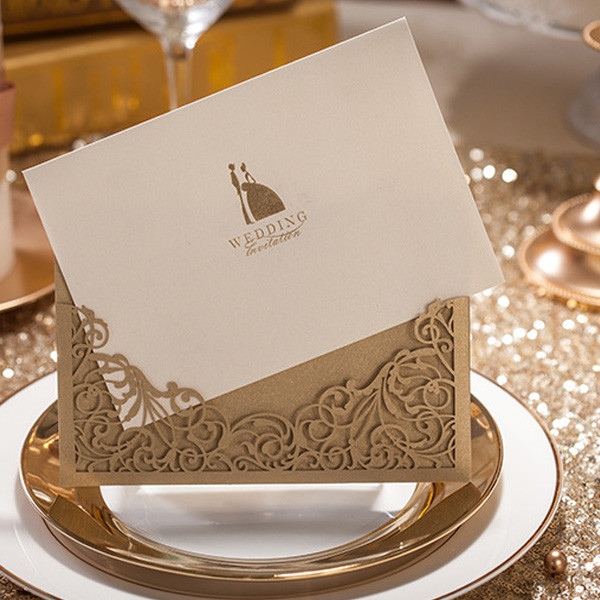 Vintage and simple gold laser cut pocket wedding invitations LC007