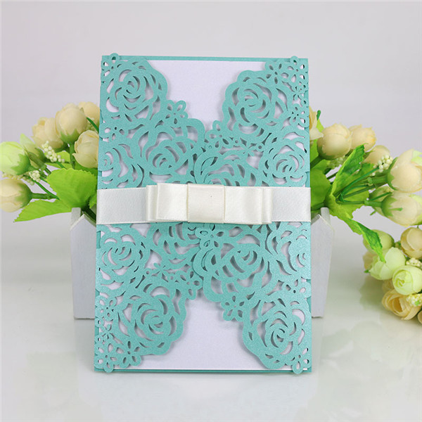 Vintage floral lace customized laser cut wedding invitations LC067
