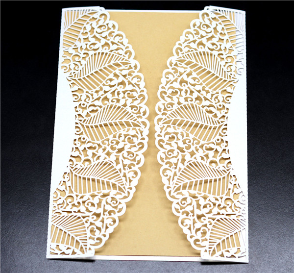 Vintage white lace laser cut wedding invitations with leaves pattern LC056