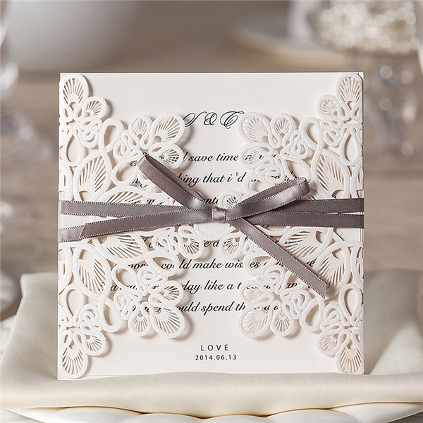 White vintage folded laser cut wedding invitations with grey ribbons LC002