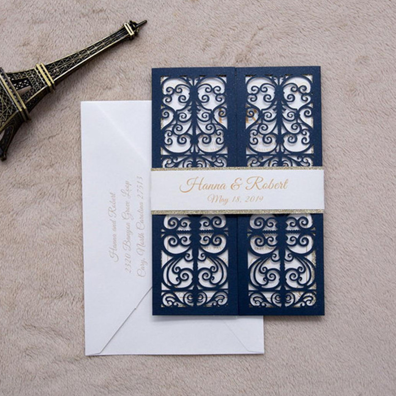 Affordable Navy Shimmer Wedding Invitations with Silver Backer and Belly Band