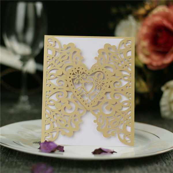 Affordable gold laser cut heart-shaped wedding invitations LC037