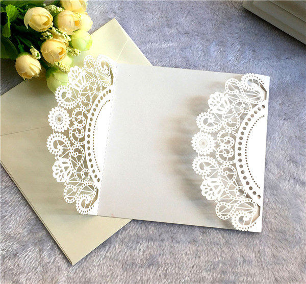 Affordable ivory folded laser cut wedding invitations LC060