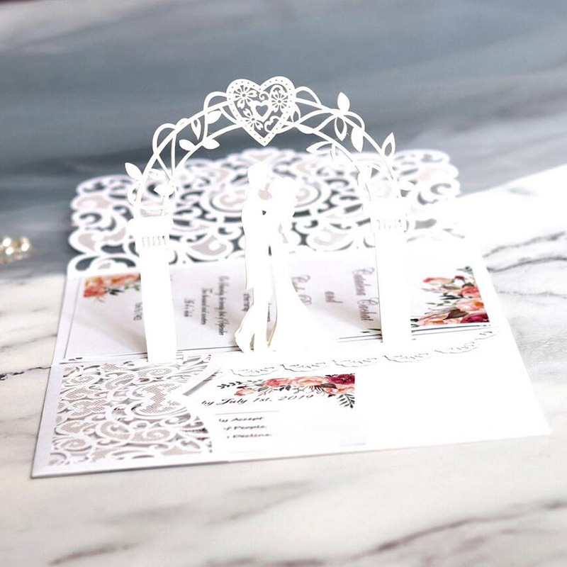 Ivory Pop up Laser Cut Wedding Invitations with Wedding Arch and Pocket Lcz046