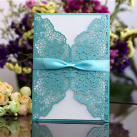 Beautiful tiffany blue laser cut wedding invitations with satin ribbons LC064