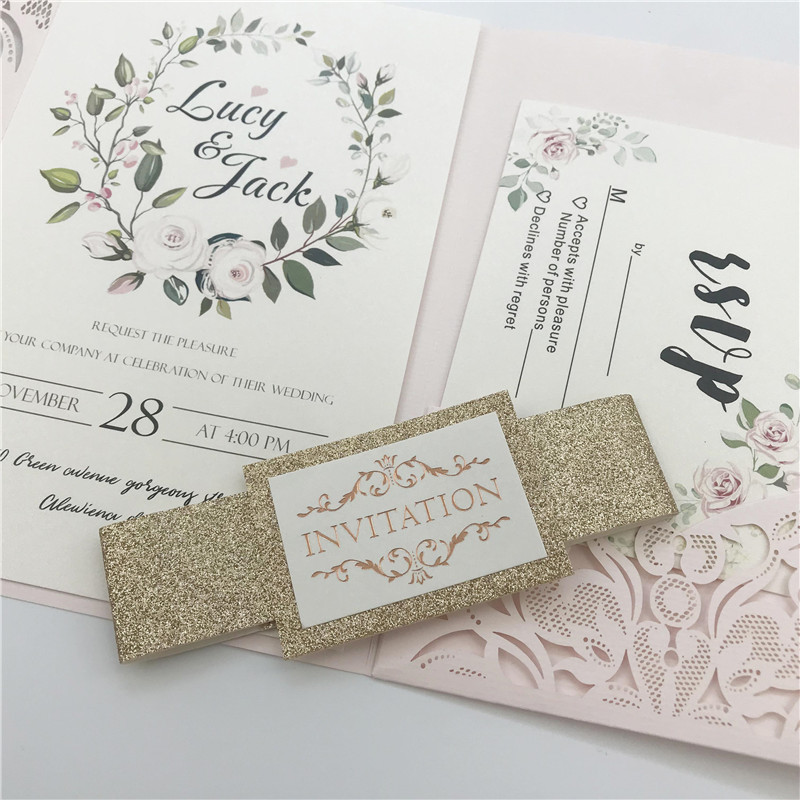 Blush Pink Pocket Laser Cut Wedding Invitations with Gold Glittery Belly Band Lcz076