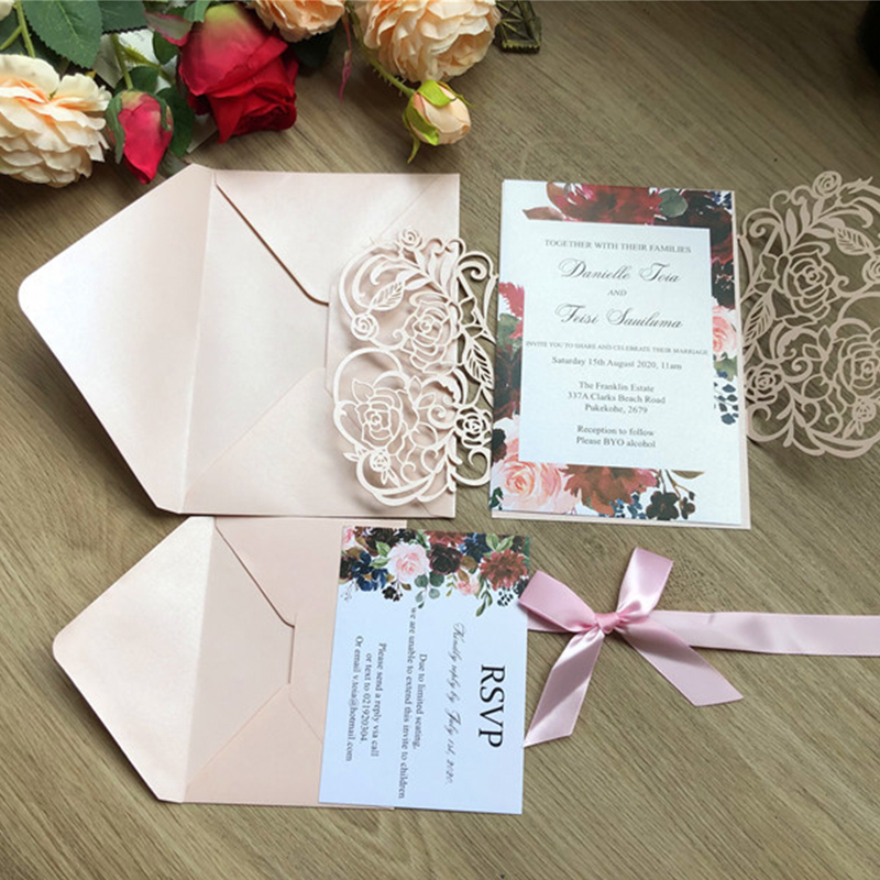 Blush Pink Shimmer Laser Cut Wedding Invitations with Bow Tie