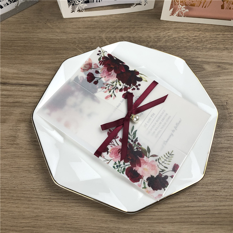 Burgundy and Pink Floral UV Printed Wedding Invitations on Vellum Paper with Ribbon and Pearl Lcz069
