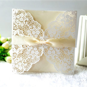 Chic modern white laser cut wedding invitations with gold inner cards LC057