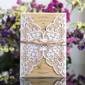Cheap customized lace laser cut wedding invitations with hemp cord LC065