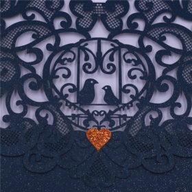 Cheap modern dark blue laser cut wedding invitations with love birds LC036