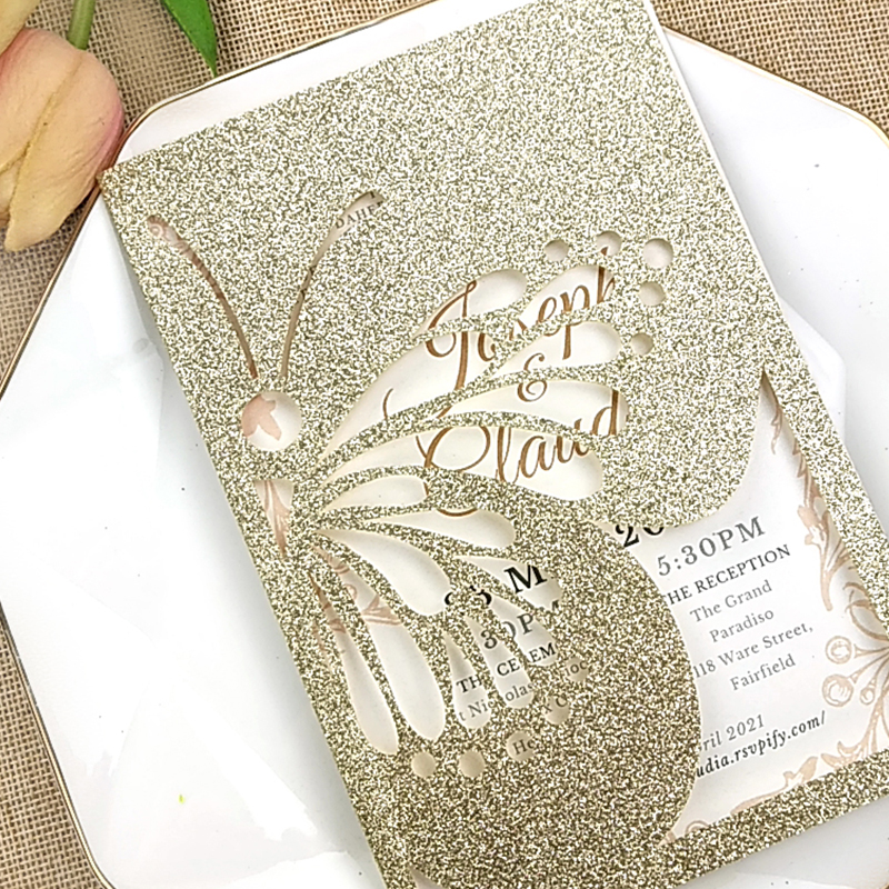 Chic Champagne Gold Glittery Laser Cut Wedding Invitations with Butterfly Designs