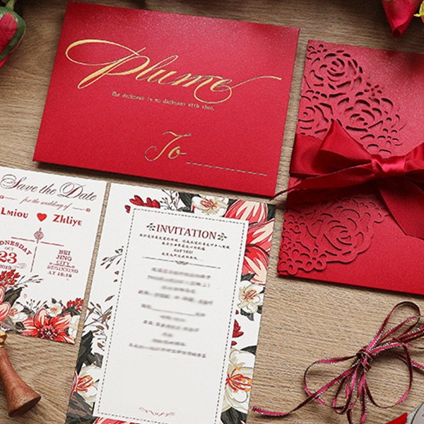 Chic Red Laser Cut Pocket Wedding invitations with Floral Design