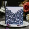 Chic and modern navy blue laser cut wedding invites with white inner cards LC052