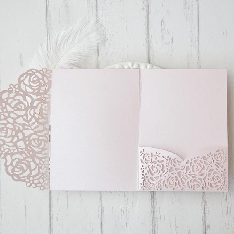 Classic Blush Pink Laser Cut Wedding Invitations with Adorable Round Greenery Design