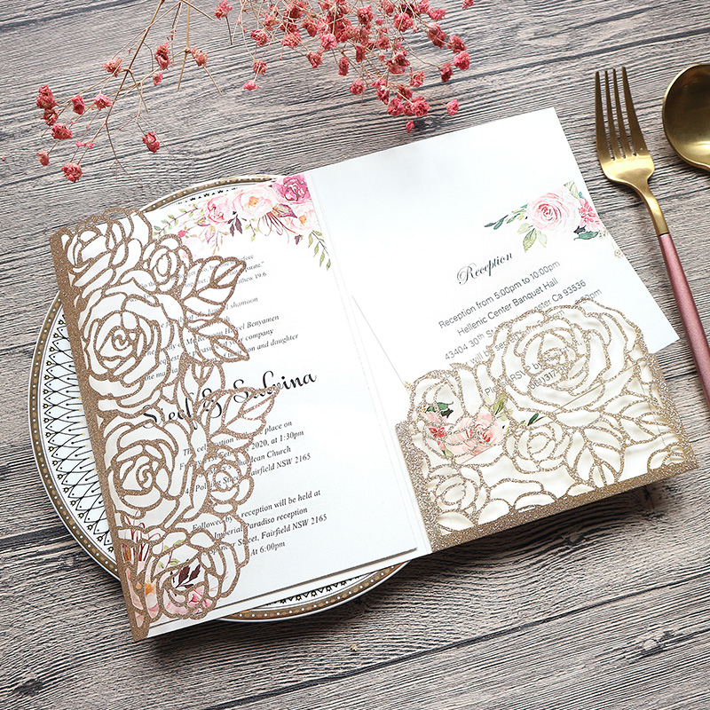 Classic Champagne Gold Glittery Laser Cut Wedding Invitations with Floral Design