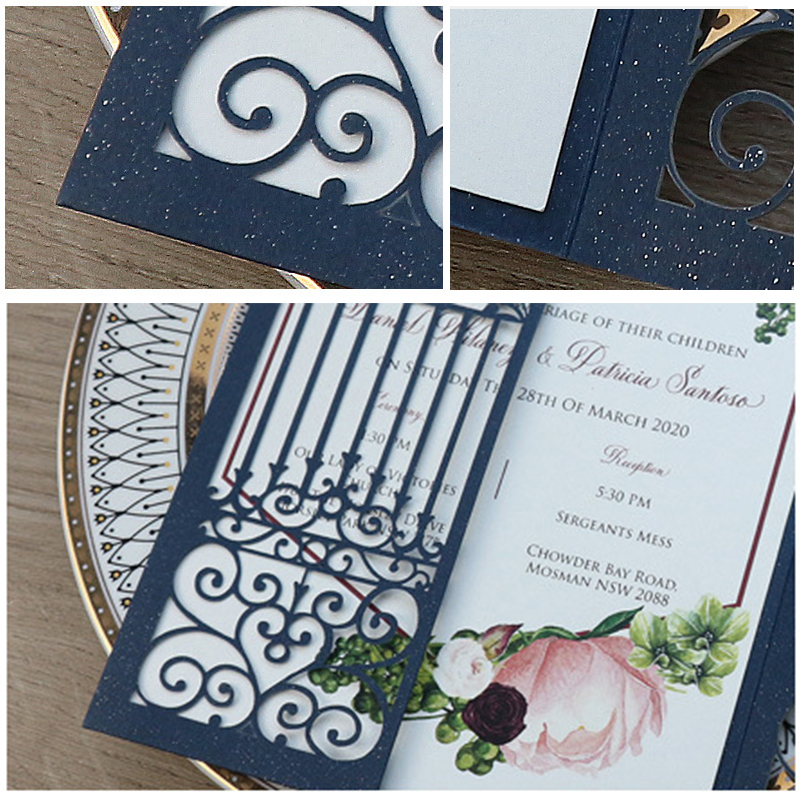 Classic Navy Blue Shimmer Laser Cut Wedding Invitations with Greenery Designs Lcz050