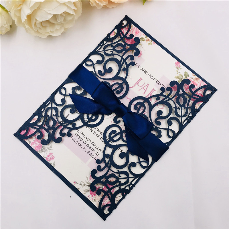 Classic Navy and Pink Laser Cut Wedding Invitations with Ribbon Belly Band