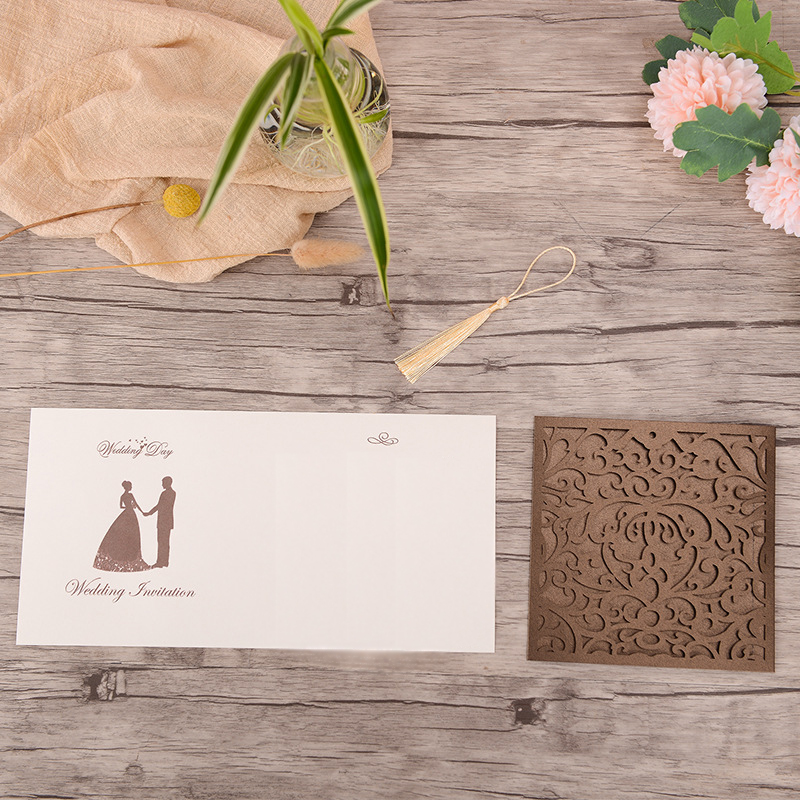 Classic Square Brown Laser Cut Wedding Invitations with Yellow Tassel